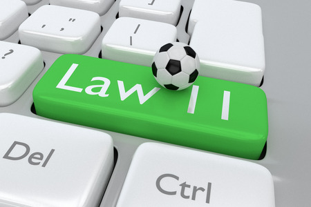 mondial: Render illustration of computer keyboard with the print Law 11 and footbal, on a green button