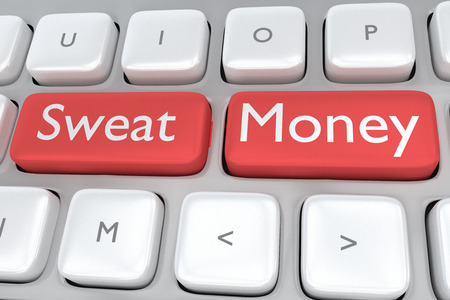 adjacent: Render illustration of computer keyboard with the print Sweat Money on two adjacent red buttons