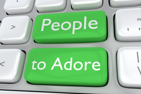 considerate: Render illustration of computer keyboard with the print People to Adore on two adjacent green buttons