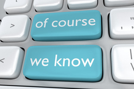 adjacent: Render illustration of computer keyboard with the print of course we know on two adjacent pale blue buttons