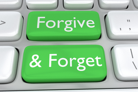 adjacent: Render illustration of computer keyboard with the print Forgive&Forget on two adjacent green buttons Stock Photo