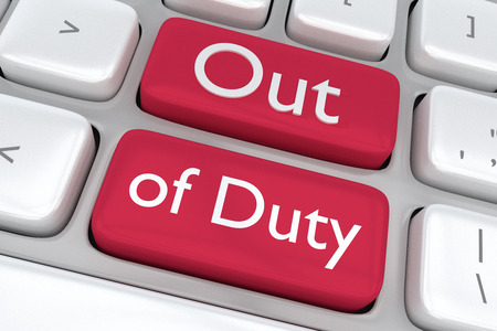 trouble free: Render illustration of computer keyboard with the printOut of Duty on two adjacent red buttons Stock Photo