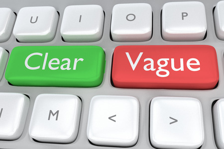 vague: Render illustration of computer keyboard with the print Clear on a green button, and the print Vague on a nearby red button