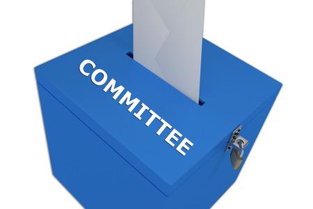 comit� d entreprise: Rendu illustration du titre Comit� sur la bo�te de scrutin, isol� sur blanc. Banque d'images