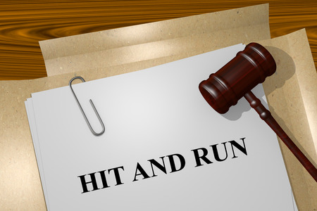 Render illustration of Hit and Run Title On Legal Documents Stock Photo