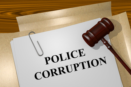 immoral: Render illustration of Police Corruption Title On Legal Documents Stock Photo