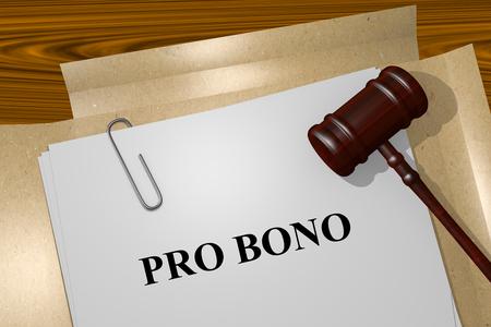 bono: Render illustration of Pro Bono Title On Legal Documents Stock Photo