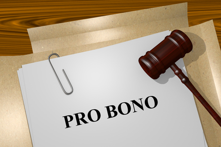 Render illustration of Pro Bono Title On Legal Documents Stock Photo
