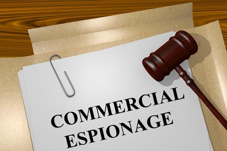 abogado: Render ilustración de Espionaje Comercial Título En documentos jurídicos Foto de archivo