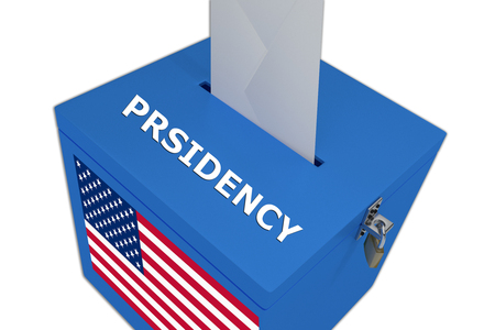 presidency: Render illustration of Presidency title on ballot  box, isolated on white. Stock Photo