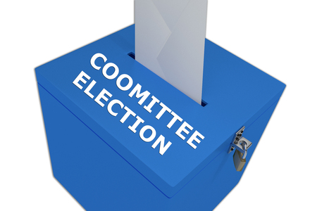 committee: Render illustration of Committee Election title on ballot box, isolated on white. Stock Photo