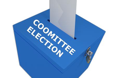 legislator: Render illustration of Committee Election title on ballot box, isolated on white. Stock Photo