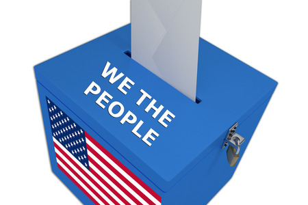 congressman: Render illustration of We the People title on ballot  box, isolated on white.