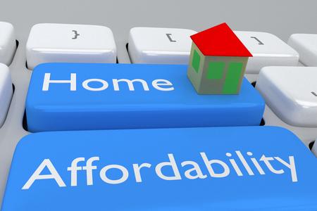 Geef illustratie van het toetsenbord van de computer met de print Home Betaalbaarheid op een bleke blauwe knop