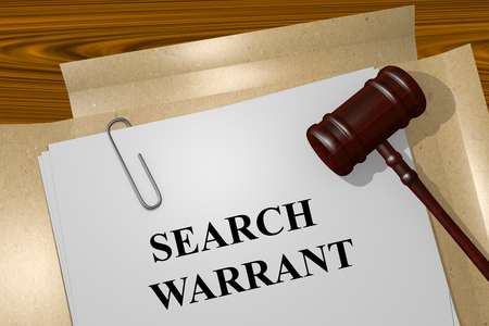 Render illustration of Search Warrant Title On Legal Documents Stock Photo