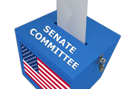 committee: Render illustration of Senate Committee title on ballot  box, isolated on white.