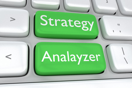 analyzer: Render illustration of computer keyboard with the print of Strategy Analyzer on two adjacent green buttons Stock Photo