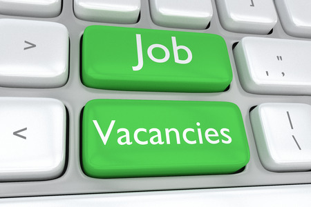 job vacancies: Render illustration of computer keyboard with the print of Job Vacancies on two adjacent green buttons