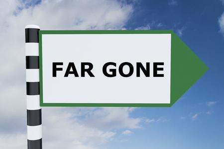 lejos: Ilustración de procesamiento del título Far Gone en señal de tráfico