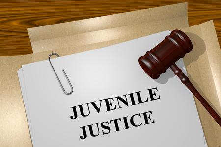 Rendu illustration de la justice pour mineurs Titre sur les documents juridiques Banque d'images - 48420137