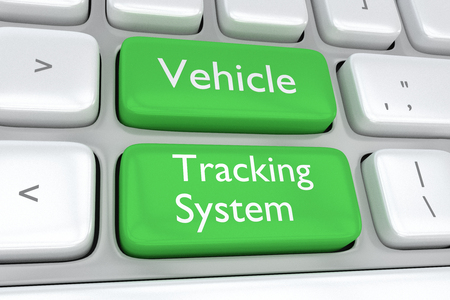 Render illustration of computer keyboard with the print Vehicle Tracking System concept on two adjacent green buttons