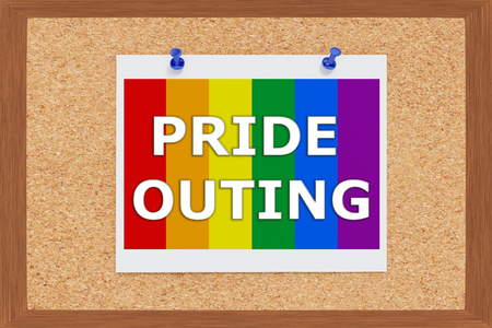 sexual orientation: Render illustration of Pride Outing Title above Pride falg on cork board