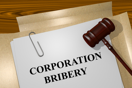 venality: Render illustration of Corporation Bribery Title On Legal Documents