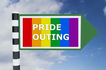 sexual orientation: Render illustration of Pride Outing Title on road sign, with Pride flag as background