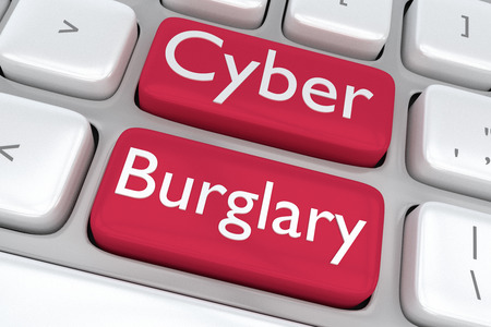 adjacent: Render illustration of computer keyboard with the print Cyber Burglary on two adjacent red buttons