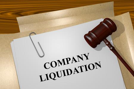 Geef illustratie van Company Liquidatie titel op officiële akten Stockfoto