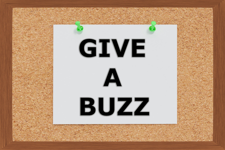 buzz: Render illustration of Give a Buzz Title on cork board Stock Photo
