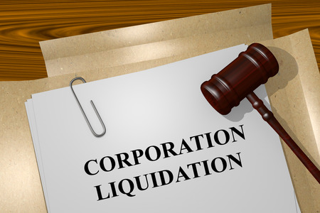liquidation: Render illustration of Corporation Liquidation Title On Legal Documents Stock Photo
