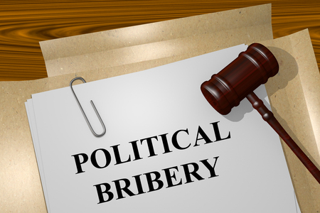 bribery: Render illustration of Political Bribery Title On Legal Documents