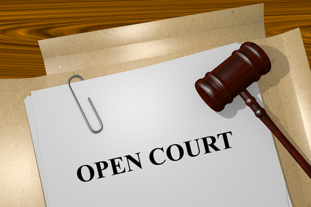 defendant: Render illustration of Open Court Title On Legal Documents Stock Photo
