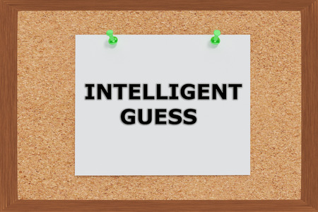 guess: Render illustration of Intelligent Guess on cork board