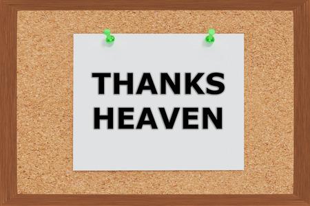 worshipper: Render illustration of Thanks Heaven on cork board Stock Photo