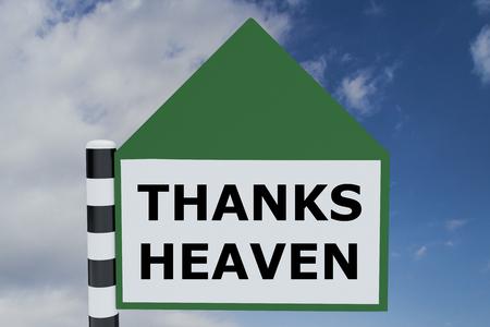 reverent: Render illustration of Thanks Heaven Title on road sign pointing upward