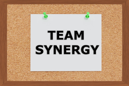 sinergia: Render illustration of Team Synergy Title on cork board