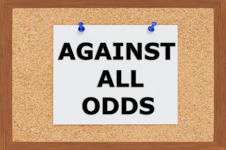 odds: Render illustration of Against all Odds Title on cork board Stock Photo