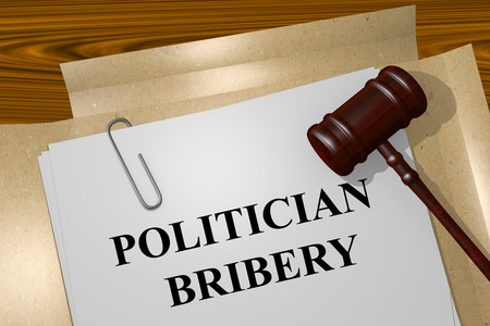 Render illustration of Politician Bribery Title On Legal Documents