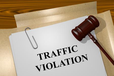 交通違反の法律文書のタイトルのイラストを表示します。 写真素材