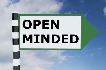 open minded: Render illustration of Open Minded Title on road sign