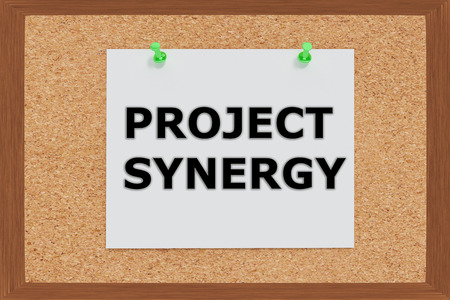 synergy: Render illustration of Project Synergy Title on cork board Stock Photo