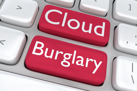 burglary: Render illustration of computer keyboard with the print Cloud Burglary on two adjacent red buttons
