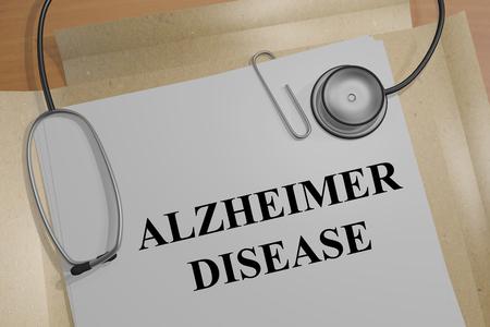 aging brain: Render illustration of Alzheimer Disease Title On Medical Documents