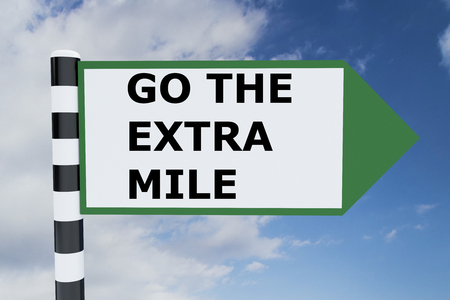stubbornness: Render illustration of Go The Extra Mile Title on road sign