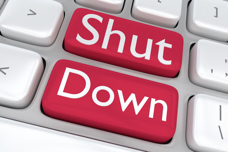 shut down: Render illustration of computer keyboard with the print Shut Down on two adjacent red buttons