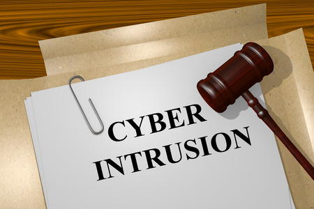 intrusion: Render illustration of Cyber Intrusion Title On Legal Documents Stock Photo