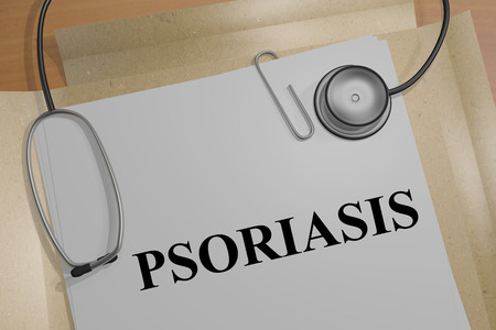 cytokine: Render illustration of Psoriasis Title On Medical Documents