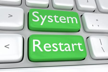 adjacent: Render illustration of computer keyboard with the print System Restart on two adjacent green buttons